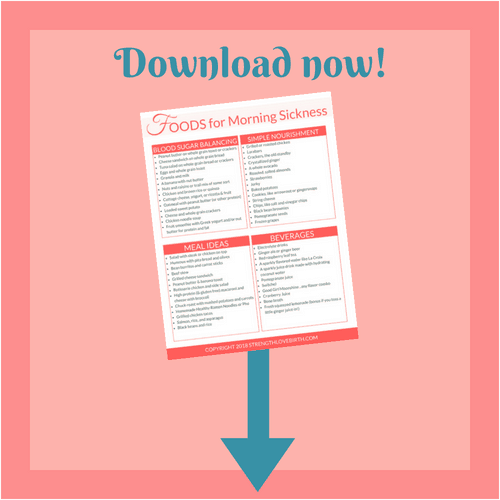 Printable checklist to download for food inspiration while dealing with morning sickness