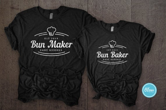 Cute Pregnancy Announcement Shirts for couple that say Bun Maker for dad and Bun Baker for mom with personalized details