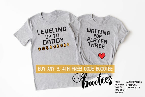 Cute Pregnancy Announcement Shirts for Video game fan couple. Dads says Leveling up to Daddy and Moms says Waiting for Player Three