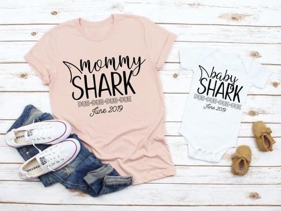 Cute Pregnancy Announcement Shirts for Mom that say Mommy Shark Due Due Due with date or baby onesie that says Baby Shark