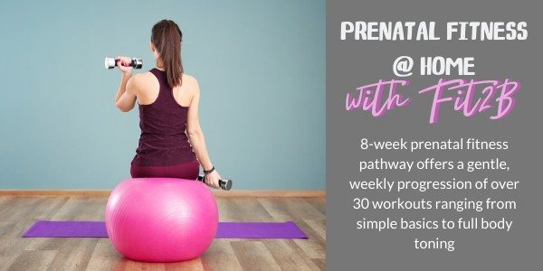 Woman exercising at home advertising prenatal fitness course