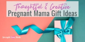 A wrapped gift for pregnancy with teal ribbon