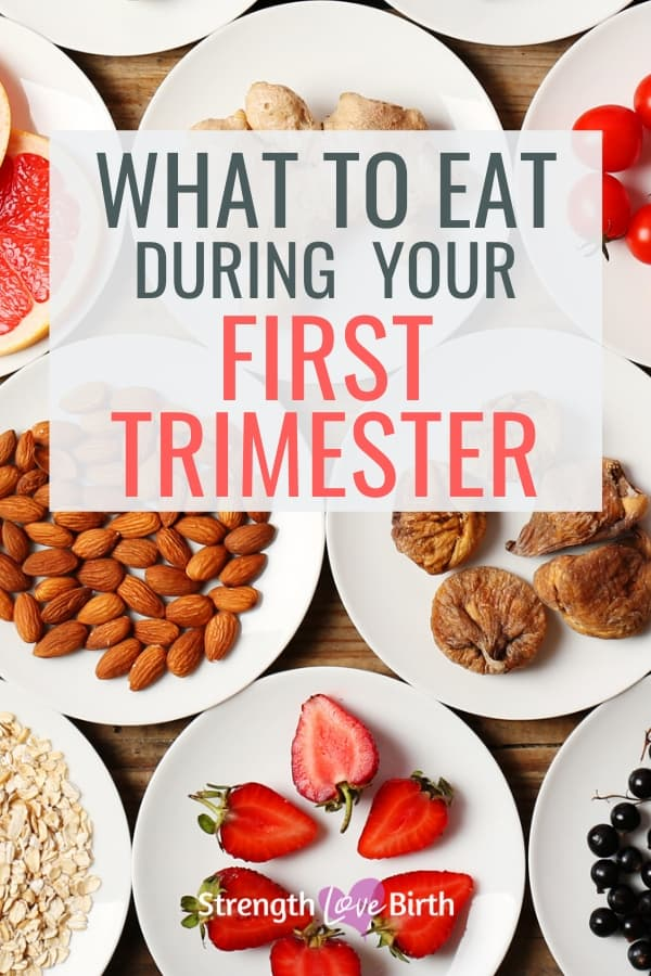 Plates of healthy foods to eat during your first trimester.