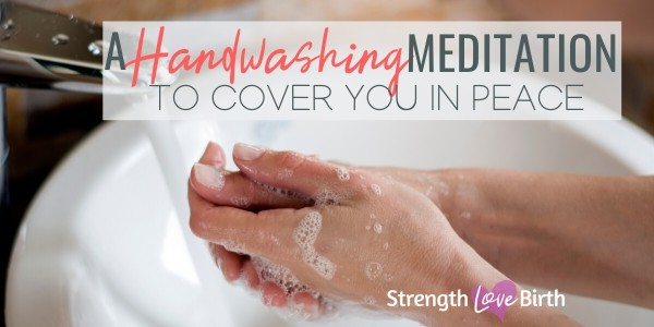 Handwashing in the sink with soap and meditation