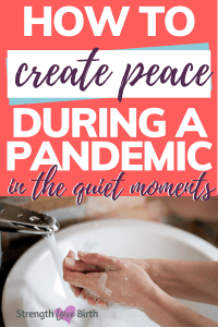 Washing hands below encouragement to create peace during pandemic with a hand washing meditation