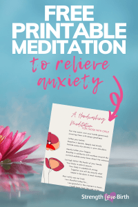 Calming image with printable handwashing meditation near lotus flower